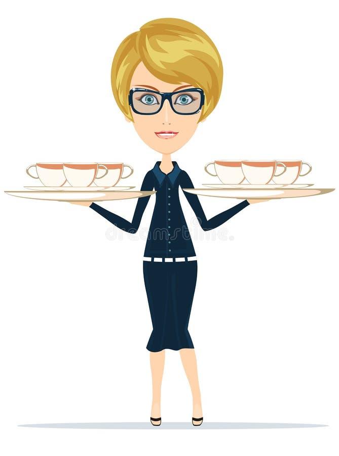 Lycklig le kvinnlig högsta kock Waiter stock illustrationer