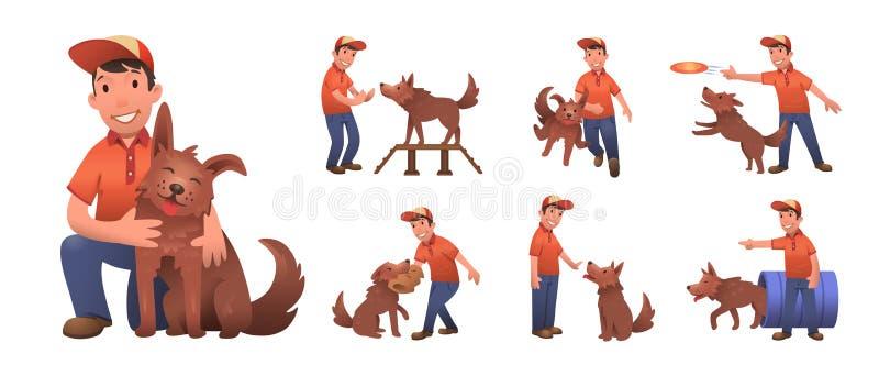 Lycklig le pojke som utbildar hans roliga hund Pojke och hund som tillsammans spelar Uppsättning av plana tecknad filmtecken Kulö vektor illustrationer