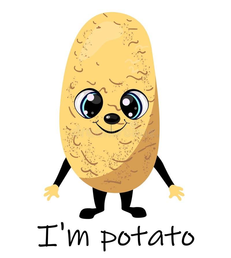 Lycklig le rolig potatis för Ute F?r tecknad filmtecken f?r vektor plan design f?r symbol f?r illustration bakgrund isolerad whit stock illustrationer
