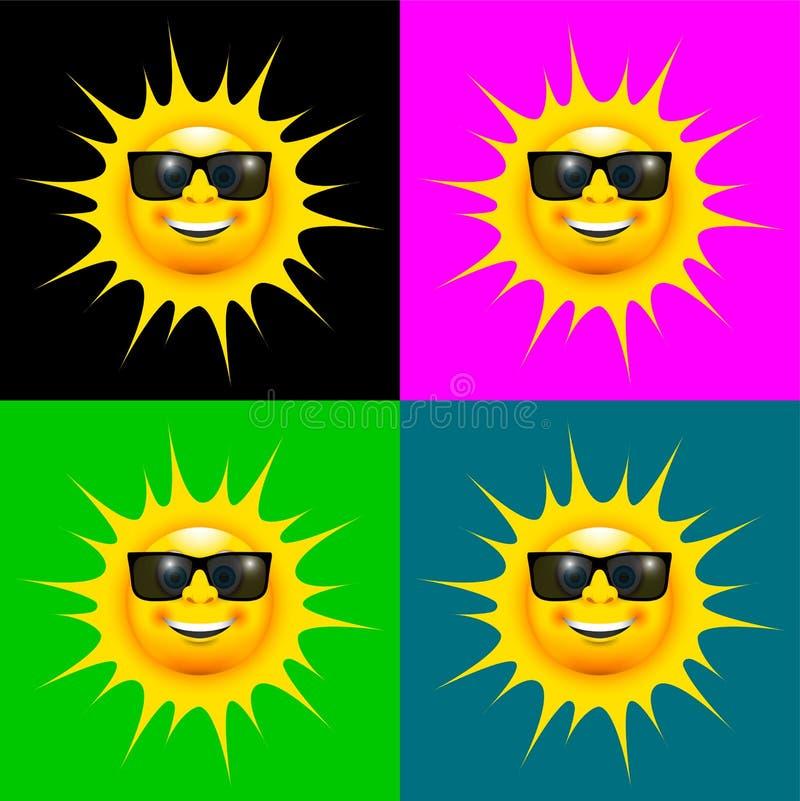 Lycklig le sol med uppsättningen för solexponeringsglas stock illustrationer