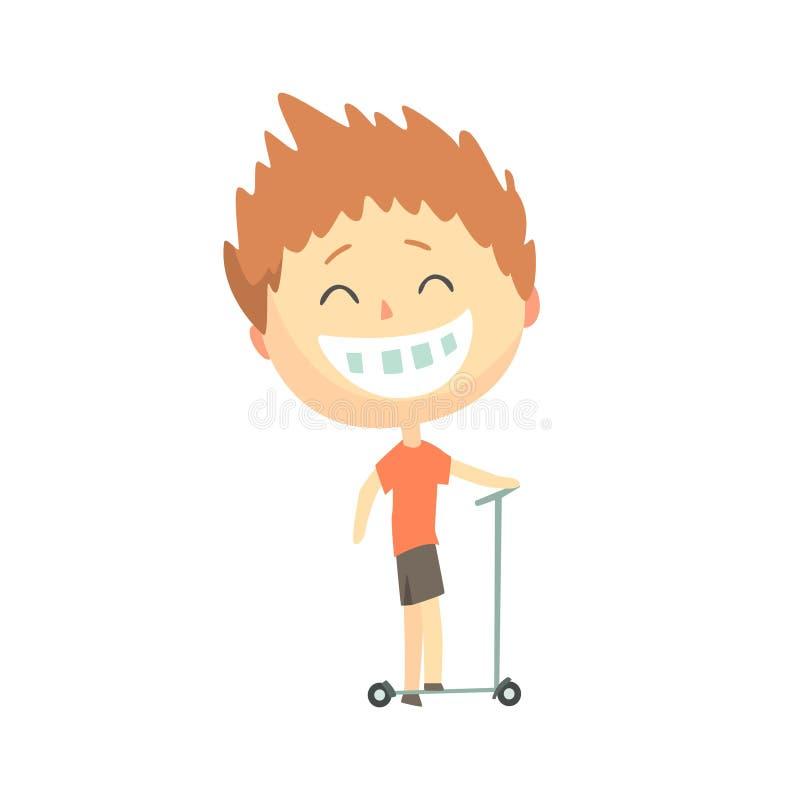 Lycklig le tecknad filmpojke som rider en sparksparkcykel, utomhus- aktivitet för ungar, färgrik teckenvektorillustration royaltyfri illustrationer