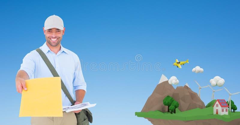 Lycklig leveransman som ger jordlotten vid den låga poly klippan royaltyfria bilder