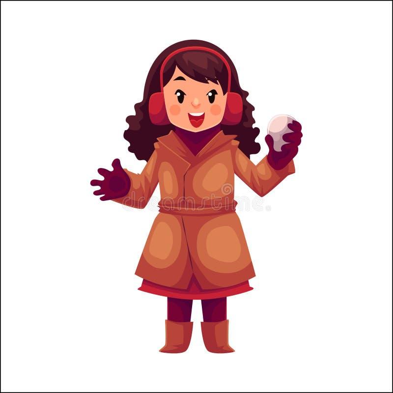 Lycklig liten flicka i vinterkläder med en kasta snöboll vektor illustrationer