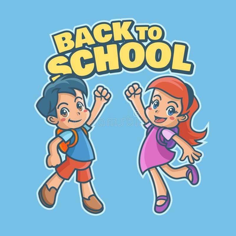 Lycklig liten flicka och pojke tillbaka till skolan arkivbild