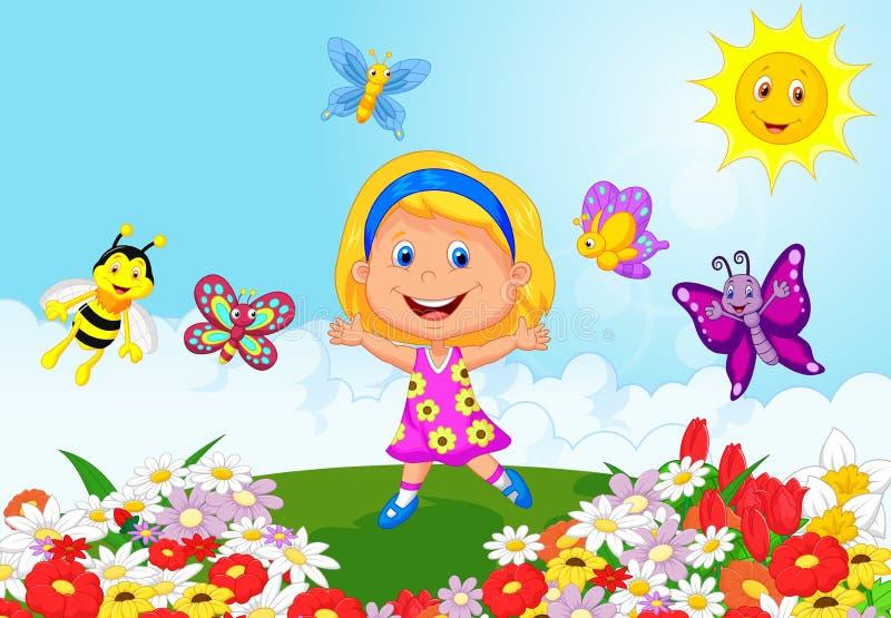 Lycklig liten flickatecknad filmspring på blommafält stock illustrationer