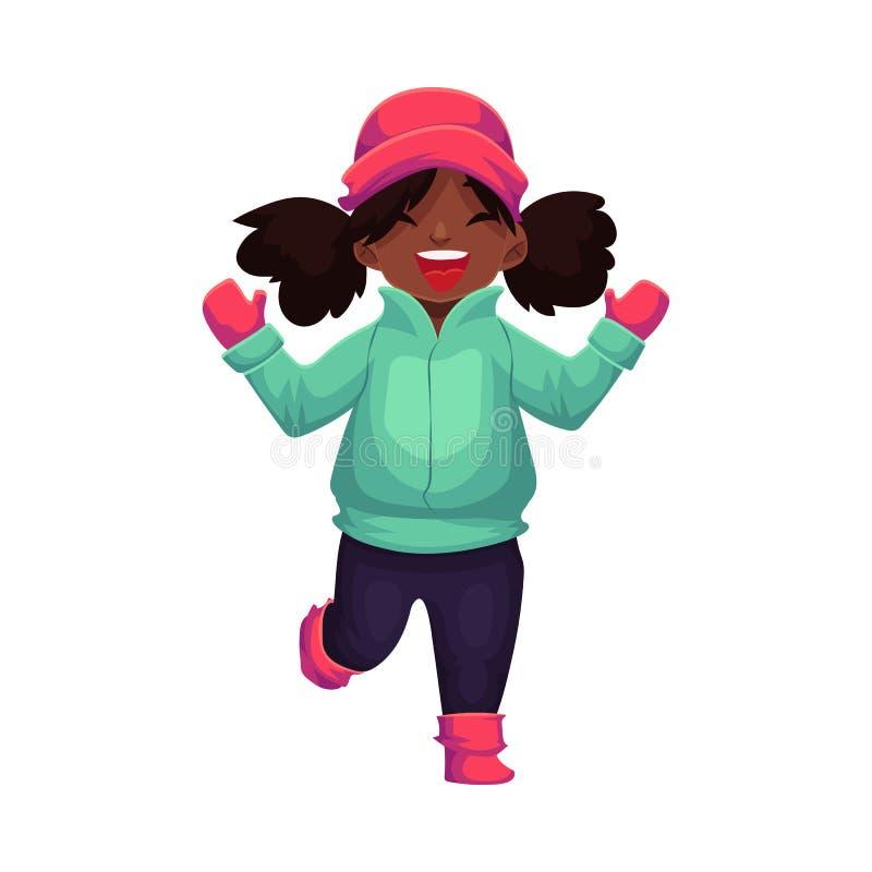 Lycklig liten svart flådd flicka i vinterkläder stock illustrationer