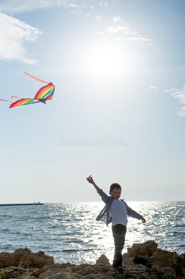 Lycklig liten unge med flygdraken nära havssolnedgång i sommardag fotografering för bildbyråer