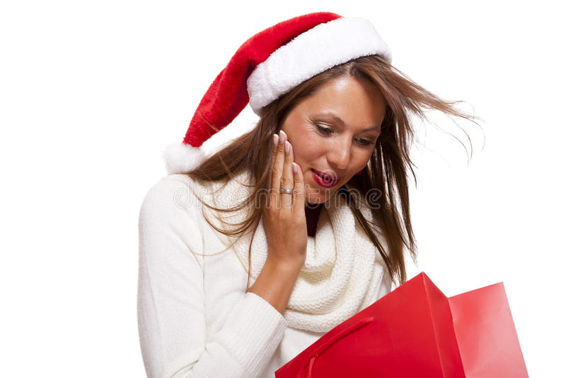 Lycklig livlig julshoppare royaltyfri bild
