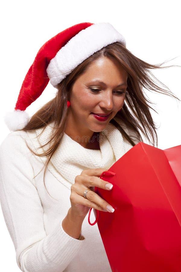 Lycklig livlig julshoppare arkivbilder