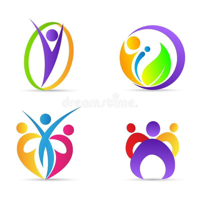 Lycklig logo för abstrakt folkfamilj royaltyfri illustrationer