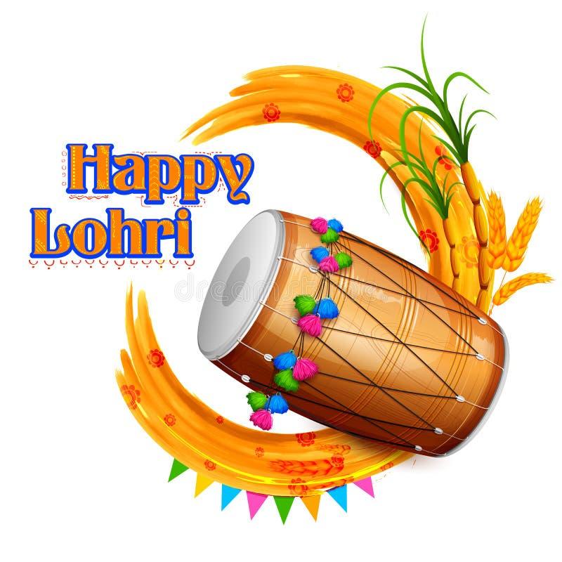 Lycklig Lohri bakgrund stock illustrationer