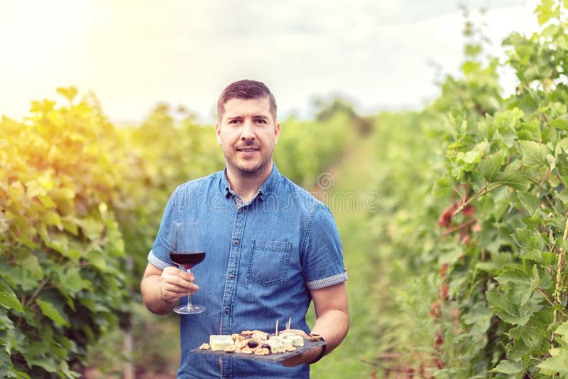 Lycklig lyckad vinproducent i exponeringsglas för vingårdinnehav av rött vin och brädet med ostmuttrar och druvor för vinavsmakni arkivbild