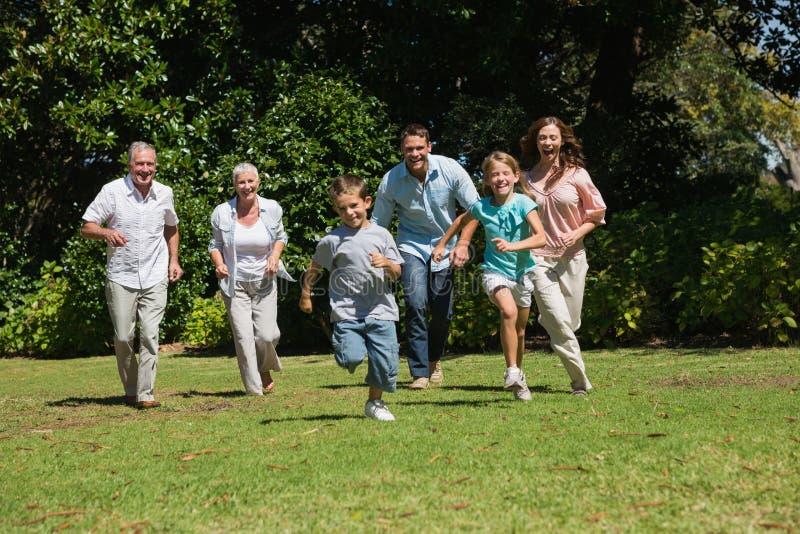 Lycklig mång- utvecklingsfamiljspring in mot kamera royaltyfri bild