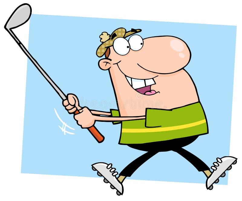 lycklig male running för golfare vektor illustrationer