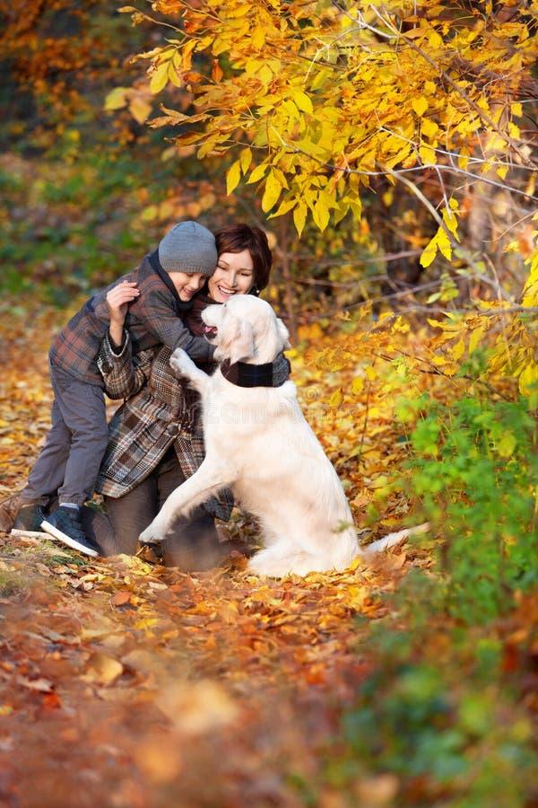 Lycklig mamma och hennes son med hunden arkivfoton