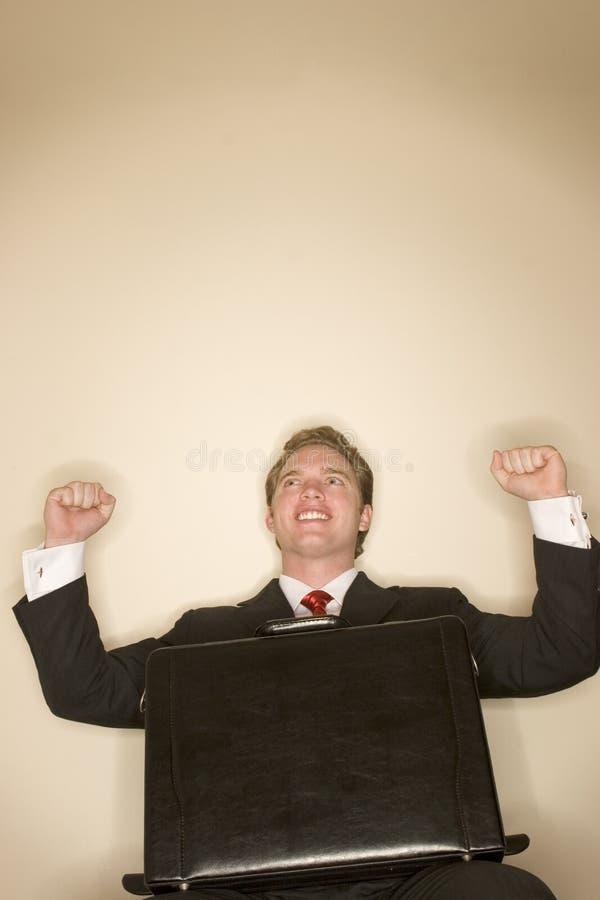 lycklig man för affär arkivfoton