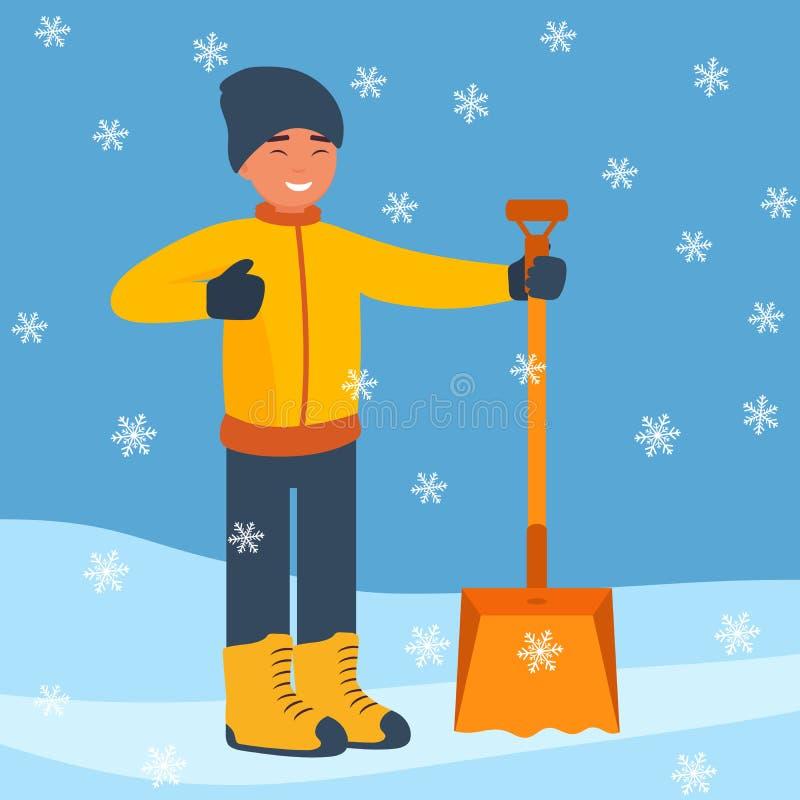 Lycklig man med en stor vinterskyffel för att snö ska starta göra ren snön Vinterlandskap med fallande snöflingor plant stock illustrationer