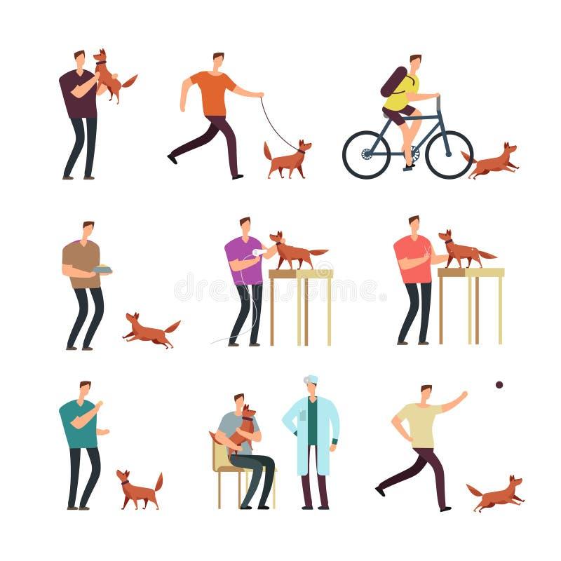 Lycklig man med hunden i daglig rutin Isolerade folk och gulliga älskvärda tecken för husdjurtecknad filmvektor royaltyfri illustrationer