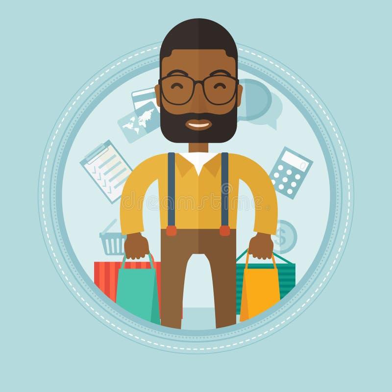 Lycklig man med illustrationen för vektor för shoppingpåsar stock illustrationer