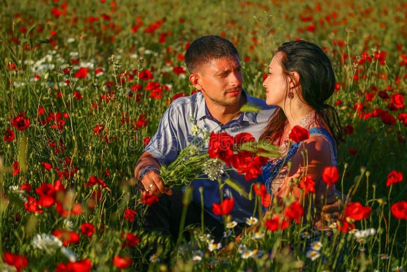 Lycklig man och kvinna som kramar i ett fält av vallmo arkivbilder