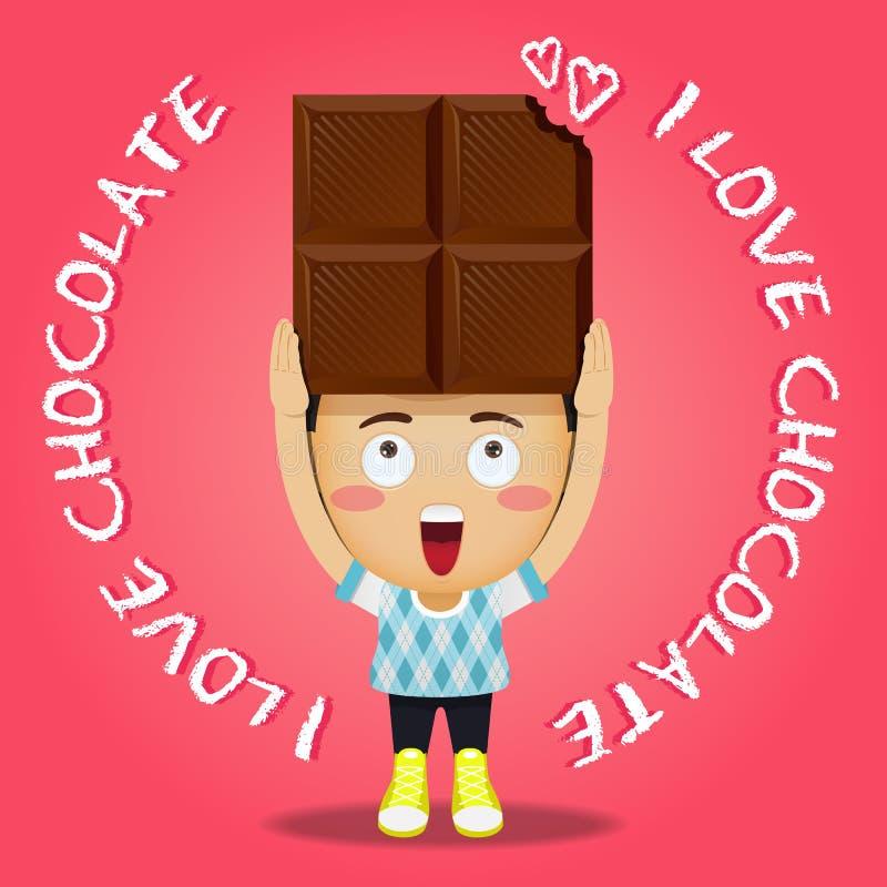 Lycklig man som bär stor choklad royaltyfri illustrationer