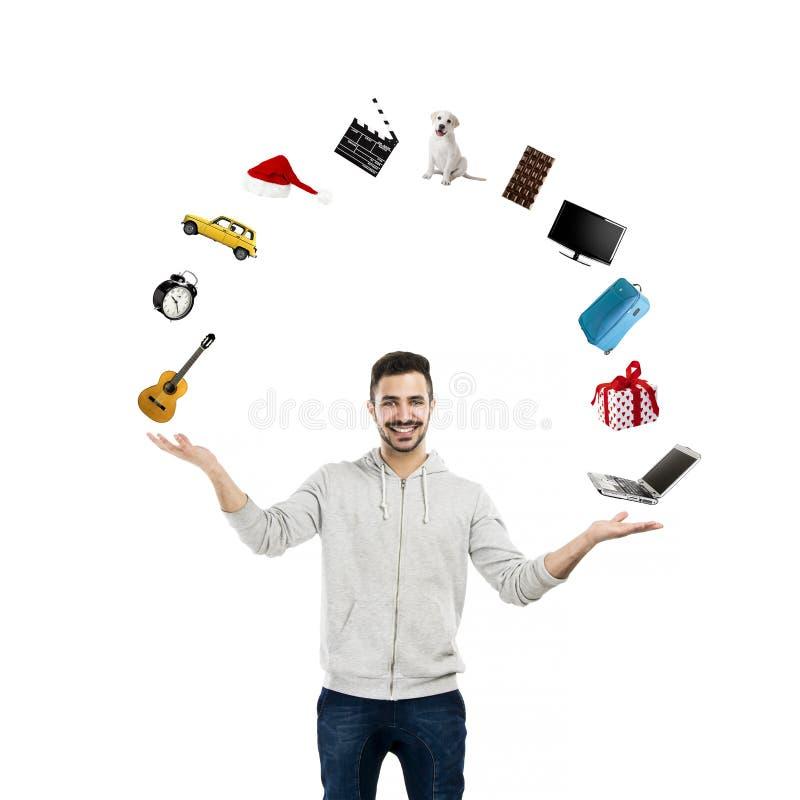 Lycklig man som gör en presentation royaltyfri bild