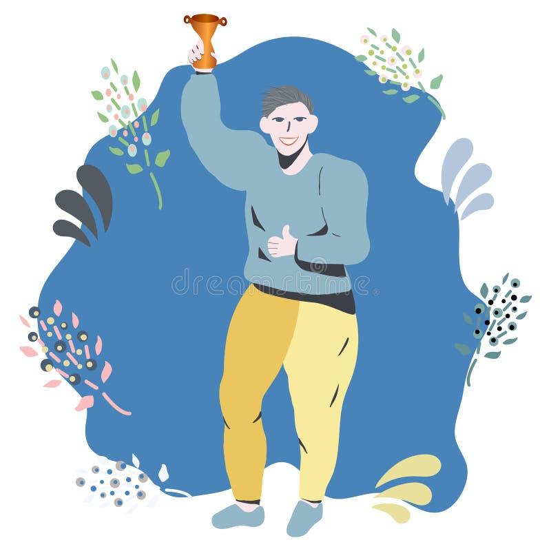 Lycklig man som ler fira seger med en guld- trofé royaltyfri illustrationer