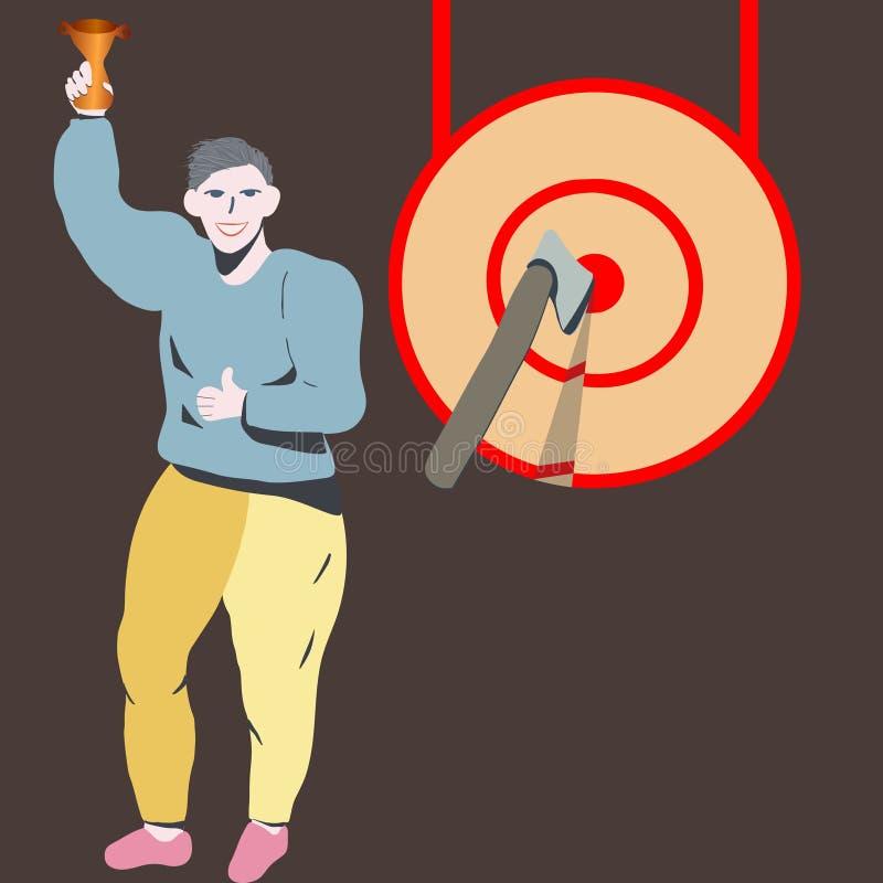 Lycklig man som ler fira seger med en guld- trofé vektor illustrationer