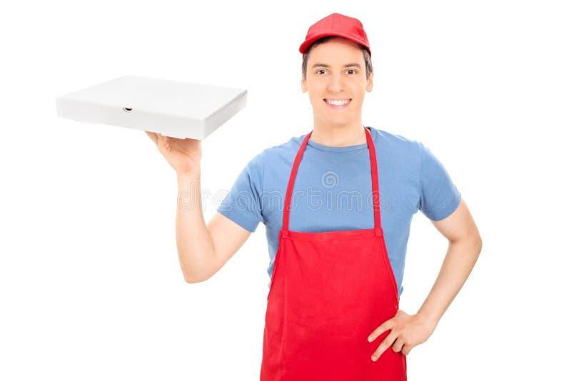 Lycklig man som rymmer en ask av pizza royaltyfria foton