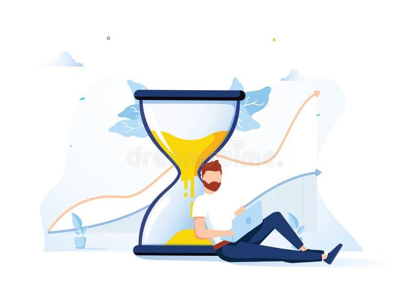 Lycklig man som sitter nära ett timglas och arbetar på hennes symboler och infographics för bärbar datoraffärsprocess på bakgrund royaltyfri illustrationer
