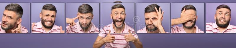 Lycklig man som visar denUPS gesten på färgbakgrund royaltyfria bilder