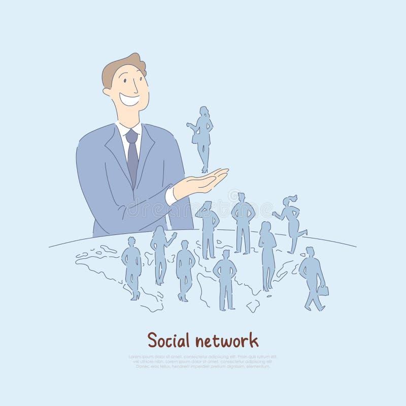 Lycklig maninnehavkvinna i handen, affärsonline-anslutning med folk över hela världen, modern värld av kommunikationsbanret vektor illustrationer