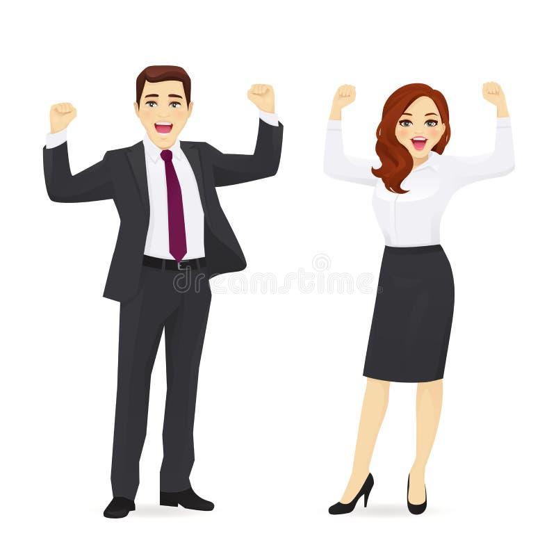 lycklig mankvinna för affär stock illustrationer