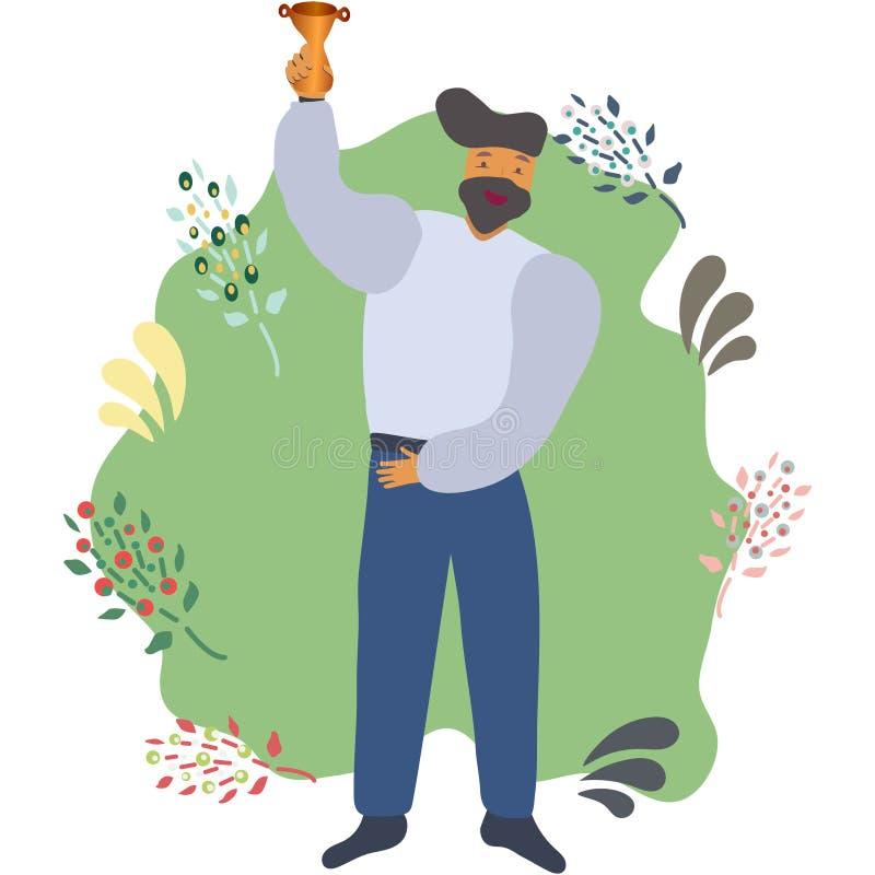 Lycklig manlig fira guld- trofé för seger stock illustrationer