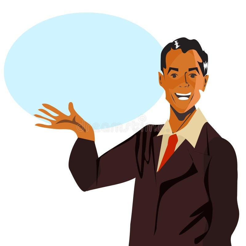 Lycklig manlig illustration för Retro anförandemantappning royaltyfri illustrationer