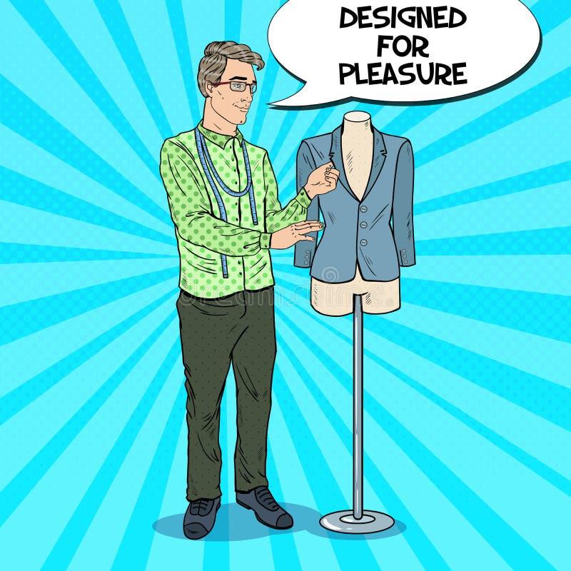 Lycklig manlig modeformgivare med omslaget på en skyltdocka kvinnor för textil för lager för insida för industri för klädattrappk stock illustrationer
