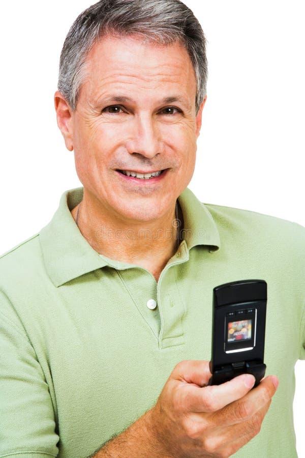 lycklig manmessagingtext royaltyfri fotografi