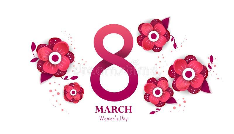 8 lycklig marsch kvinnor för dag s royaltyfri illustrationer
