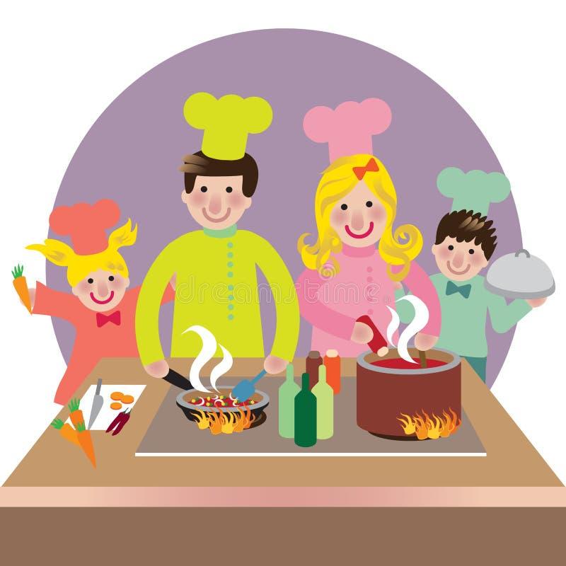 lycklig matlagningfamilj stock illustrationer