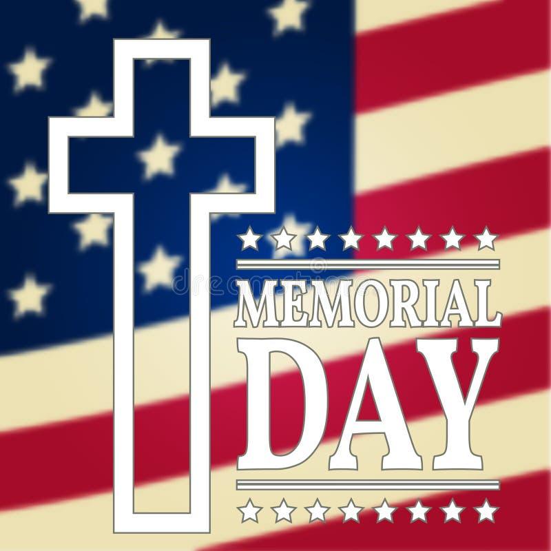 Lycklig Memorial Day bakgrundsmall Lycklig Memorial Day affisch amerikanska flaggan patriotiskt baner stock illustrationer