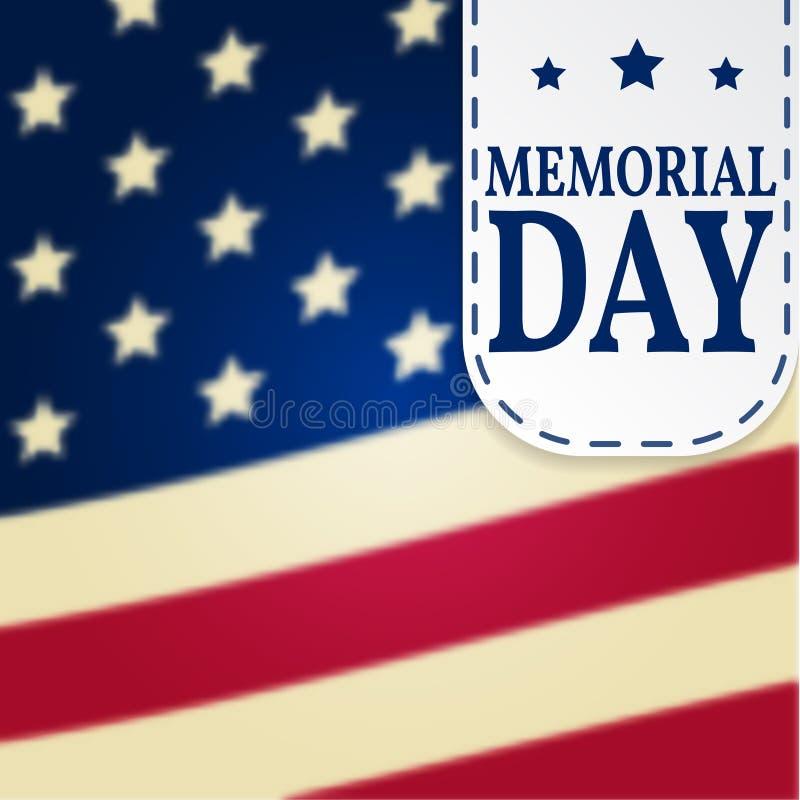 Lycklig Memorial Day bakgrundsmall Lycklig Memorial Day affisch Minnes- Dayon överkant av amerikanska flaggan patriotiskt baner V royaltyfri illustrationer
