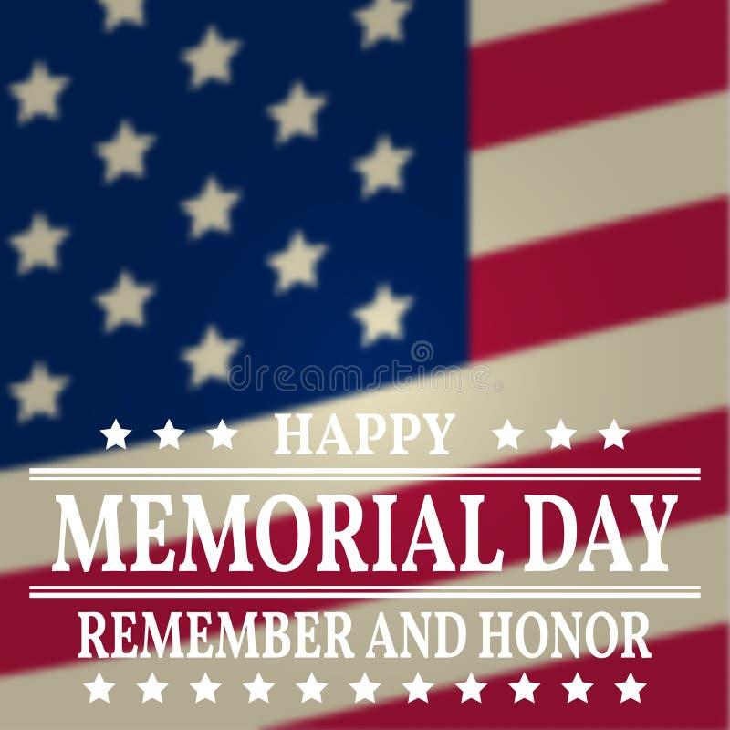 Lycklig Memorial Day bakgrundsmall Lycklig Memorial Day affisch Minns och hedra överst av amerikanska flaggan patriotiskt baner V vektor illustrationer