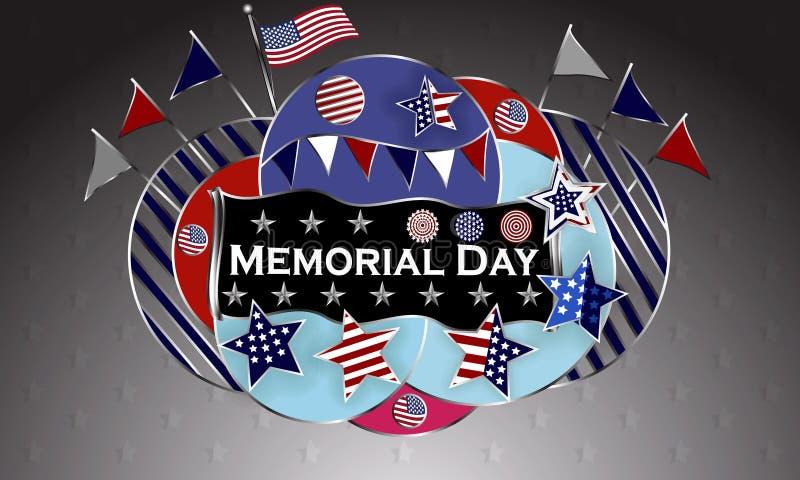 Lycklig Memorial Day bakgrundsmall Stjärnor och amerikanska flaggan patriotiskt baner också vektor för coreldrawillustration vektor illustrationer