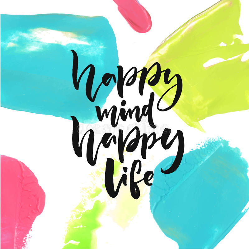 Lycklig mening, lyckligt liv Realitet som säger om lycka och livsstil Design för borstebokstävercitationstecken stock illustrationer