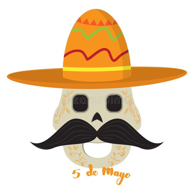 Lycklig mexikansk skalle cinco de mayo stock illustrationer