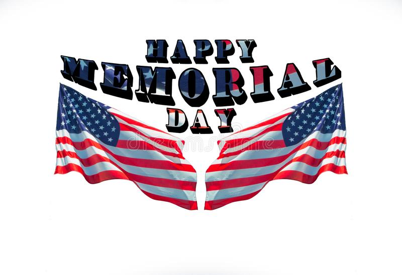 Lycklig minnesdagen med två amerikanska flaggan fotografering för bildbyråer