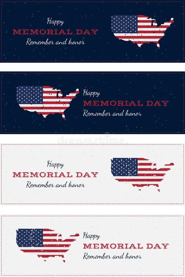 Lycklig minnesdagen med USA översikten Ställ in det retro hälsningkortet för tappning med flaggan och gammal-stil textur Nationel arkivfoto