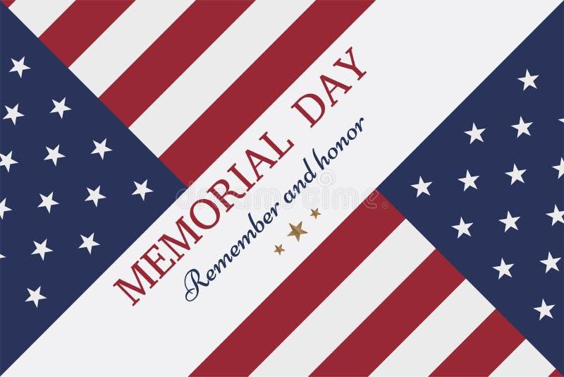 lycklig minnesmärke för dag Hälsningkort med flaggan och soldat på bakgrund royaltyfri illustrationer