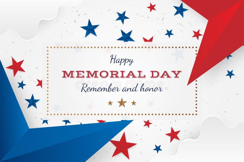 lycklig minnesmärke för dag Hälsningskort med stjärnor Nationell amerikansk feriehändelse Plan vektorillustration EPS10 vektor illustrationer