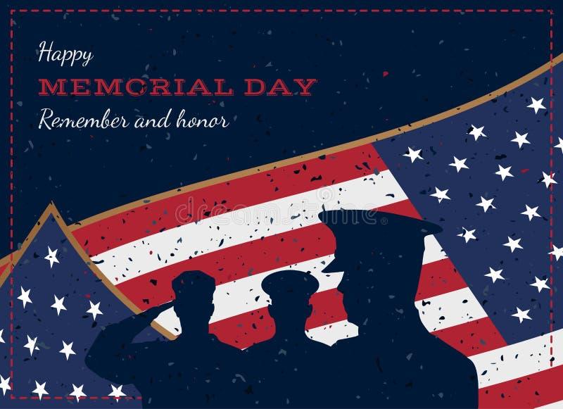 lycklig minnesmärke för dag Retro hälsningkort för tappning med flaggan och soldat med gammal-stil textur Nationell amerikansk fe stock illustrationer